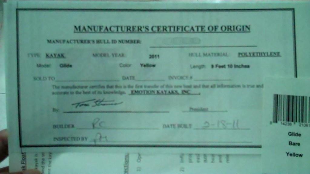 origin certificate