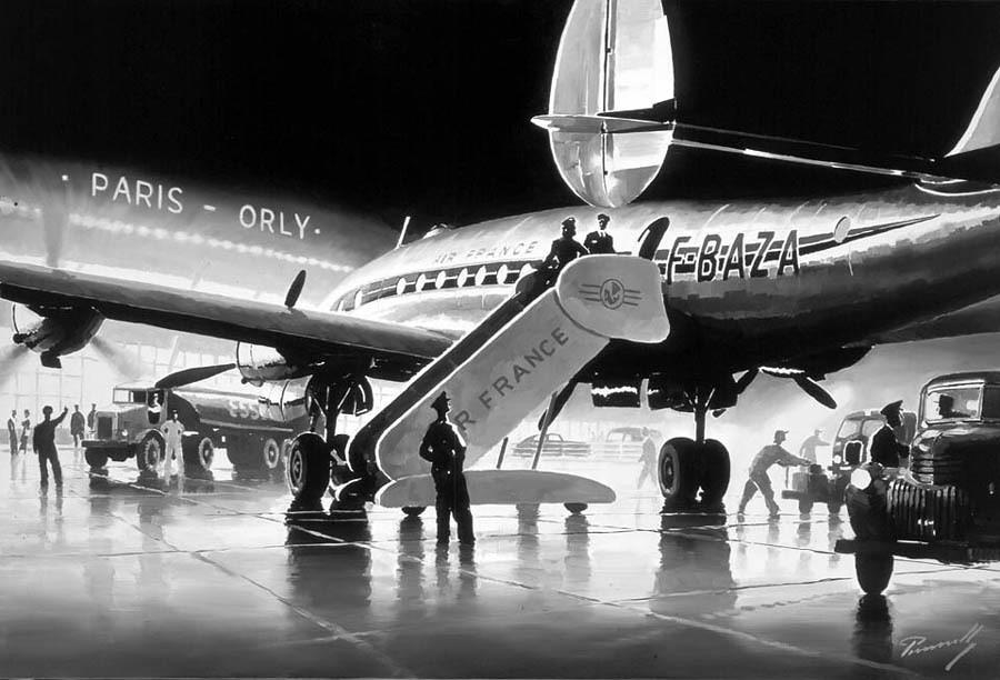 N 3d Wallpaper Lockheed Constellation Air France In Orly At Night Par L