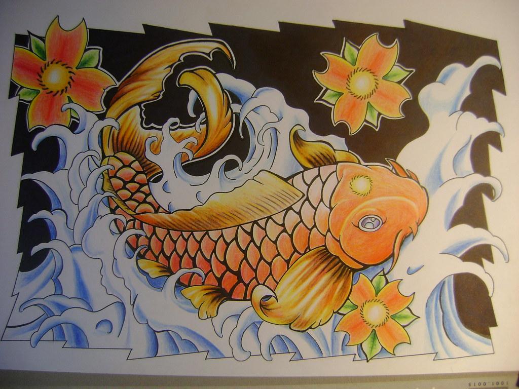 Koi 3d Wallpaper Pez Koi Ya Con Color Mi Dibujo Con Tinta Y Lapices De