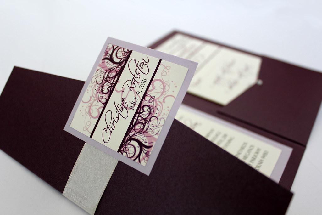 Purple And Ivory Wedding Invitations Eggplant And