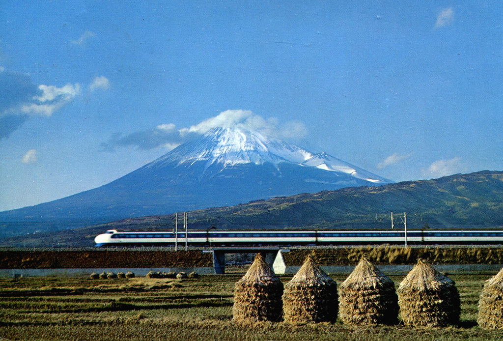 3d Mountain Wallpaper Mt Fuji And Bullet Train Postcard This Is Japan S