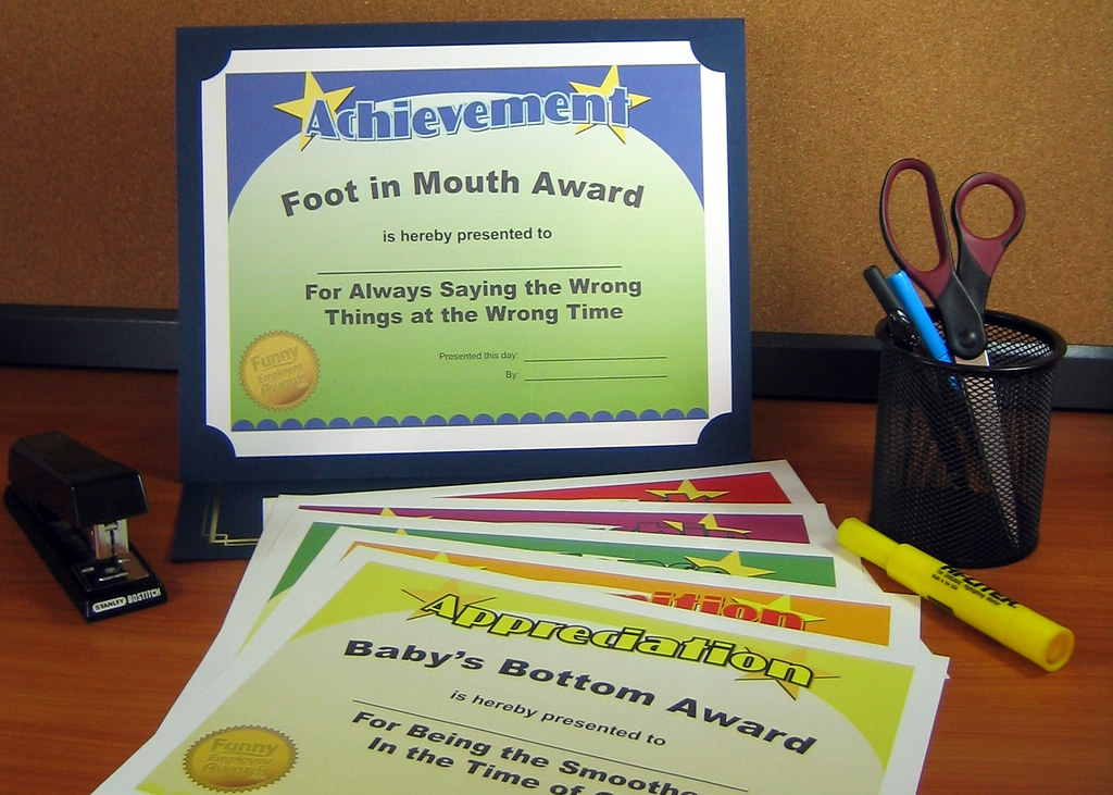 Funny Office Awards From a recent office party awards cere\u2026 Flickr - employee superlatives