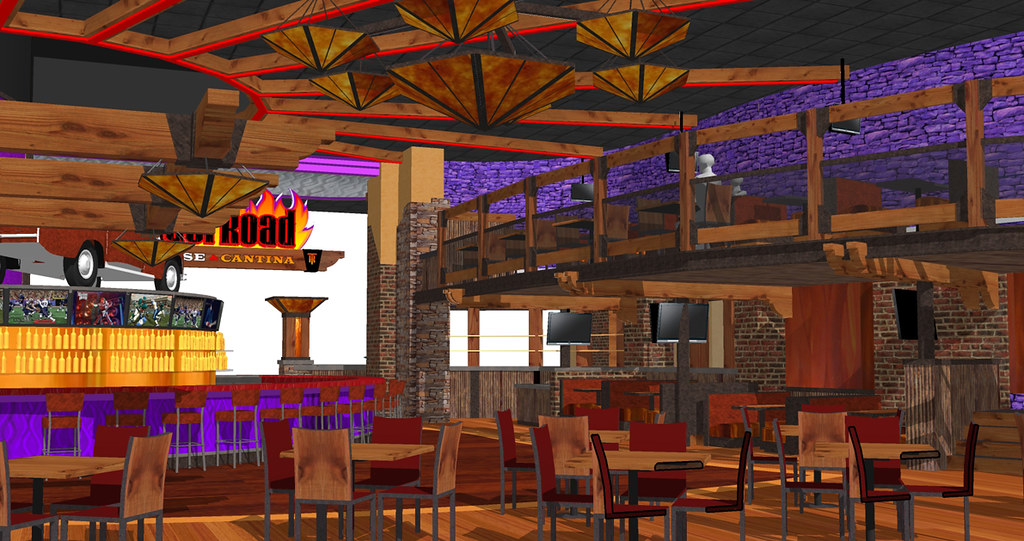Rustic Furniture Restaurant Interior Design | Bar Design Rendering | Concep