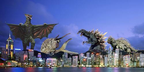 Foto Wallpaper 3d Godzilla And Varan Vs Gyaos And Ganimes Mz 65 Flickr