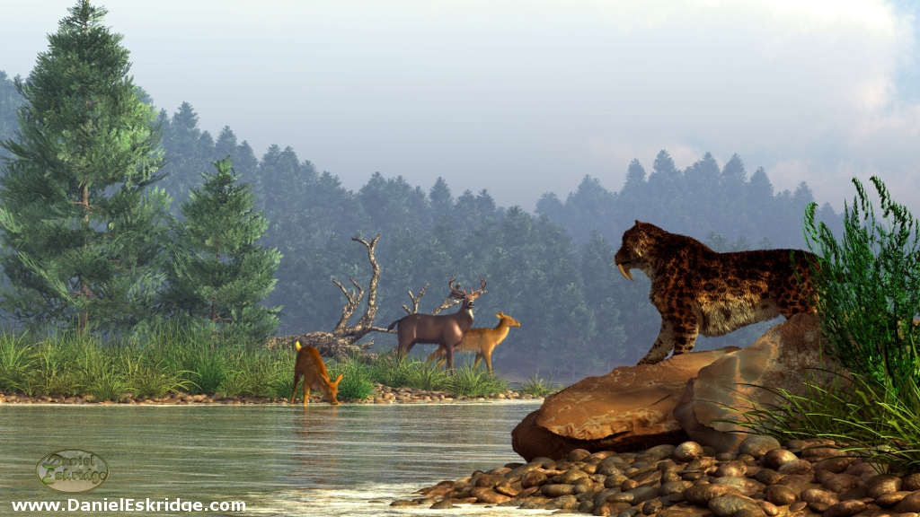 Saber Tooth Tiger 3d Wallpaper A Saber Tooth Hunting Deer I Could See How Deer Might