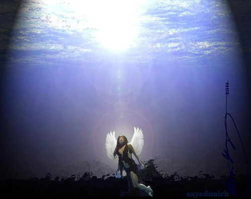3d Picture Wallpaper Underwater Angel A Rendering Of Aaliyah With Dove Wings