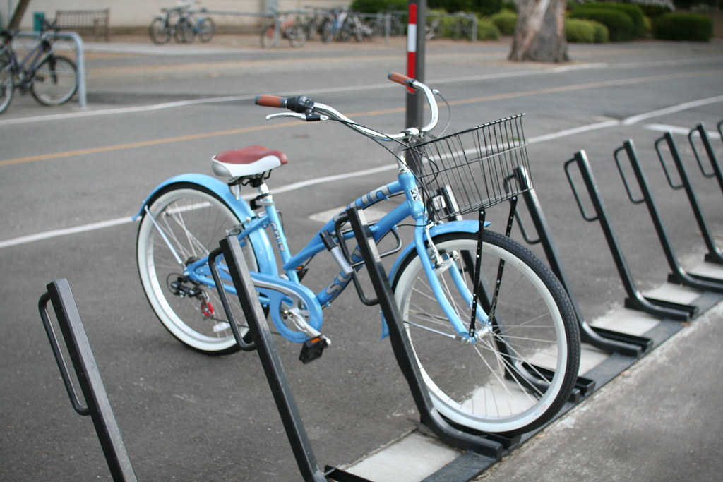 Bike Rack With Light Blue Bike With Whitewall Tires Univ