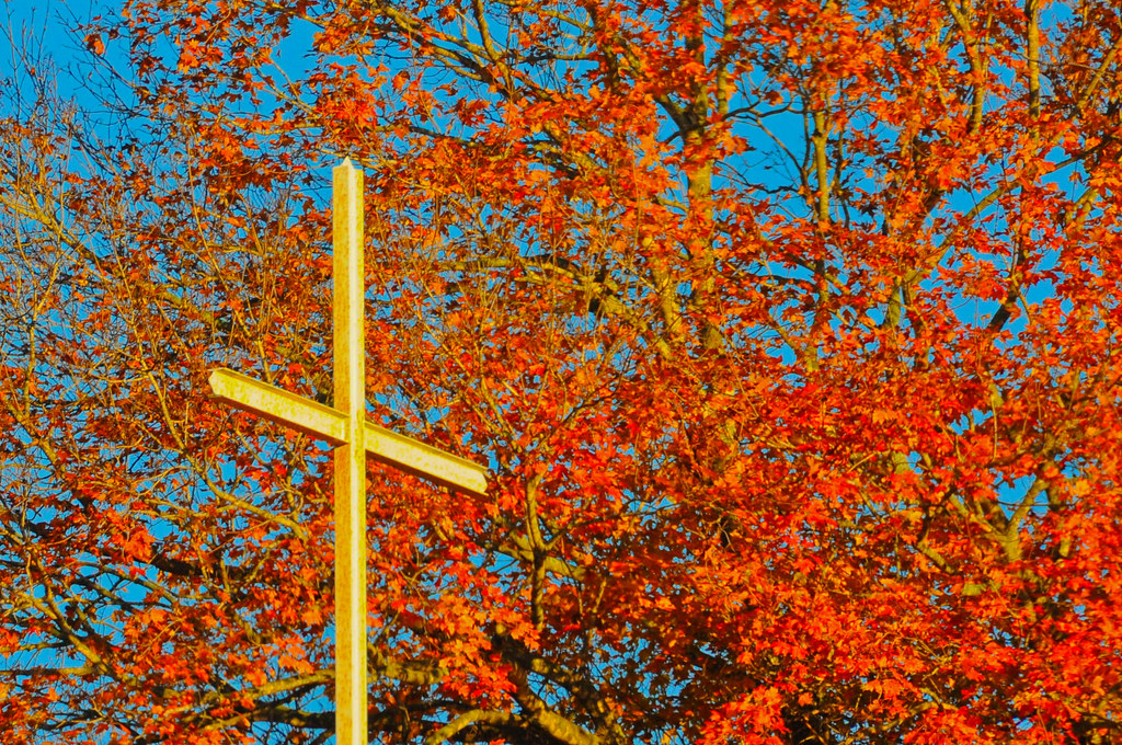 3d Fall Wallpaper Autumn Cross Taken At Maple Leaf Cemetery In Harrison