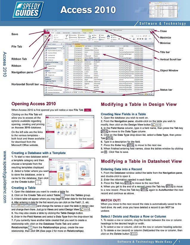 Microsoft Access 2010 Laminated Quick Reference Guide, Che\u2026 Flickr