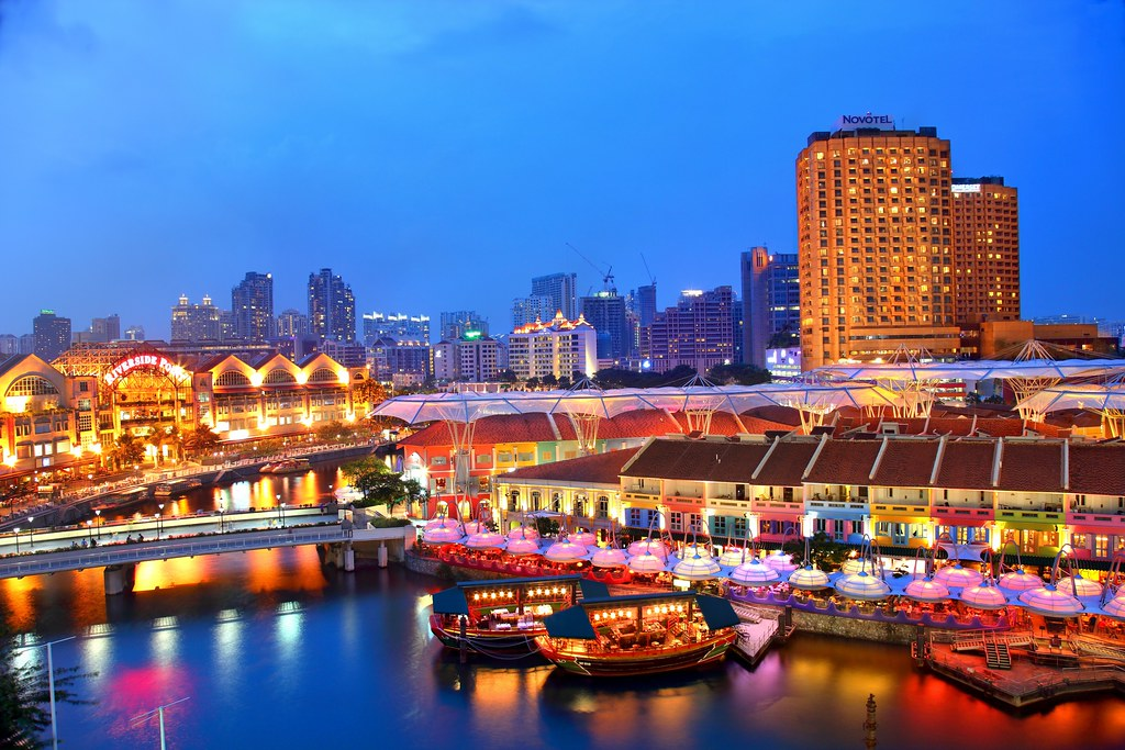 3d Wallpaper Singapore Clark Quay Blue Hour Clark Quay Location Singapore