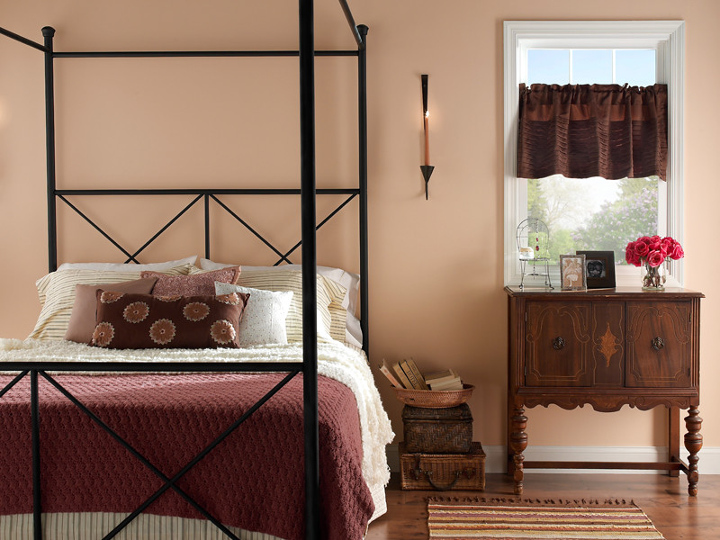 Country bedroom walls peach bud 240e 2 trim frost w f