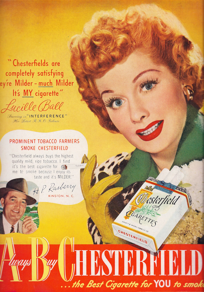 Sweet Beautiful Girl Wallpaper Ad Chesterfield Lucille Ball 1949 Happy Birthday Lucy