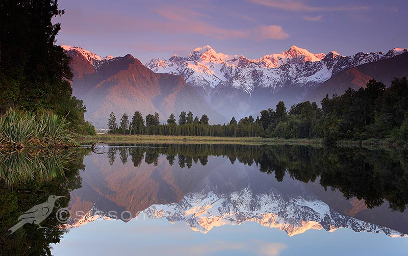 Fall Moutains Wallpaper Sunset Reflection Lake Matheson South Westland New Zeala