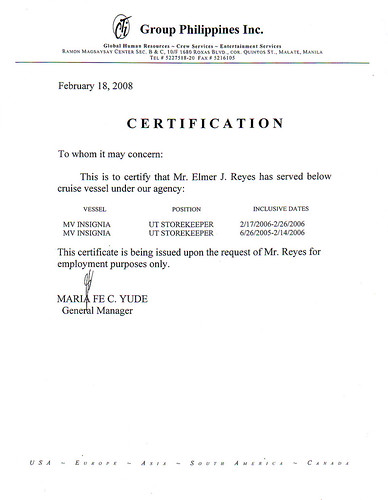 My Certificate of Employment and Other Scanned Documents Flickr - certification of employment sample
