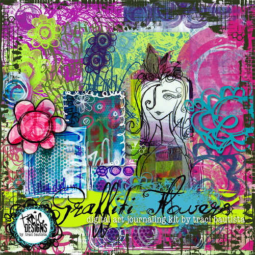 Graffiti Wallpaper 3d Hd Graffiti Flowers Digital Art Journaling Kit By Traci Bauti