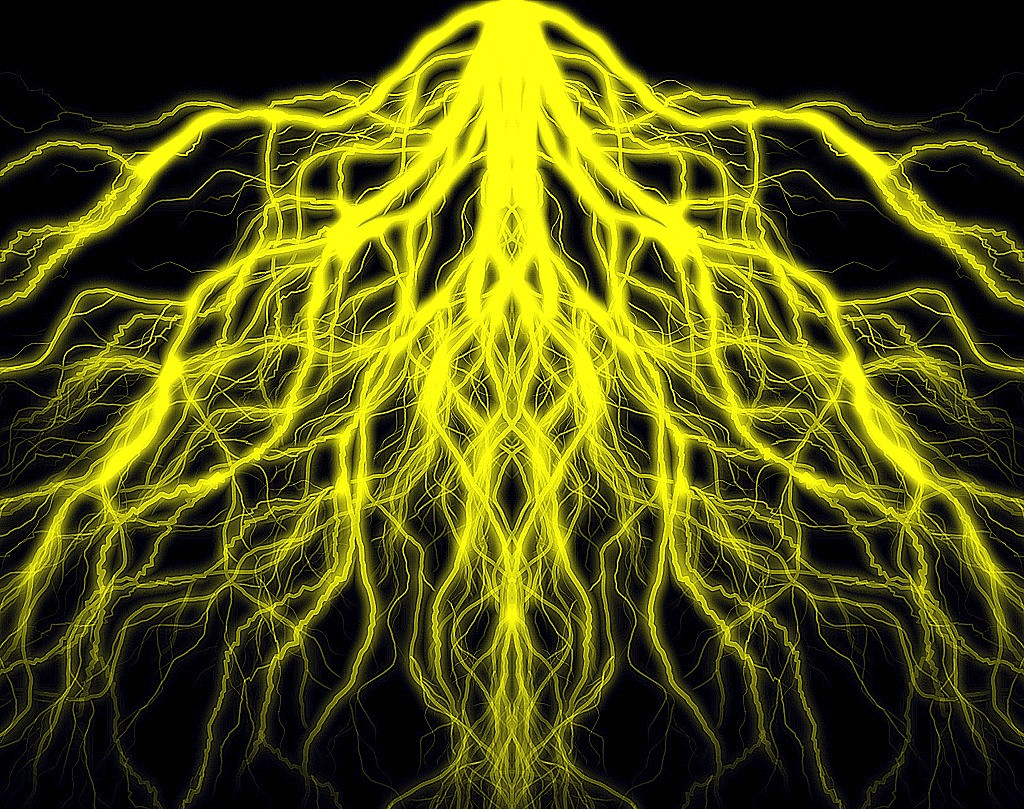 Cool 3d Wallpaper Backgrounds Mirrored Yellow Lightning 001 Mirrored Yellow Lightning