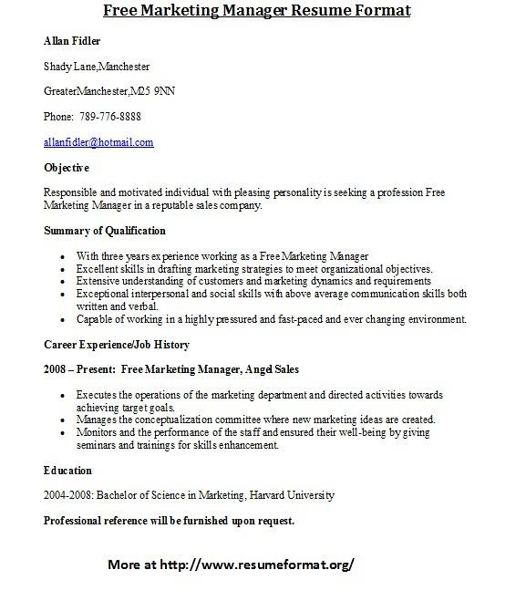 Free Marketing Manager Resume Format For more marketing re\u2026 Flickr