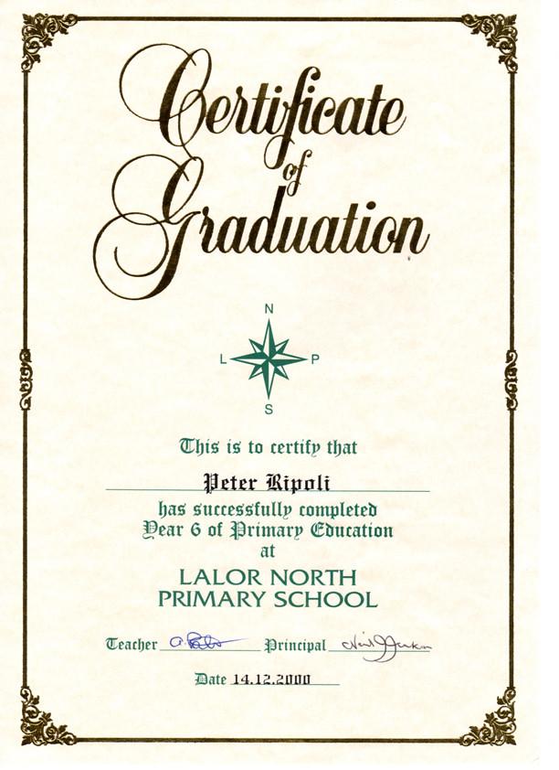 Peter Ripoli\u0027s Graduation Certificate from Lalor North Pri\u2026 Flickr - graduation certificate