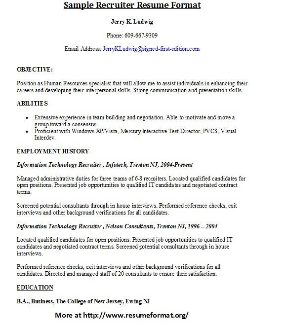 Sample Recruiter Resume Format For more sample resumes of \u2026 Flickr