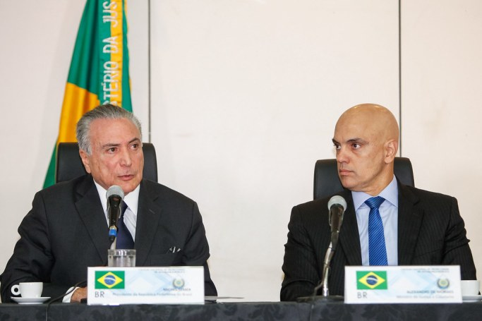 President Temer with Alexandre Moraes.
