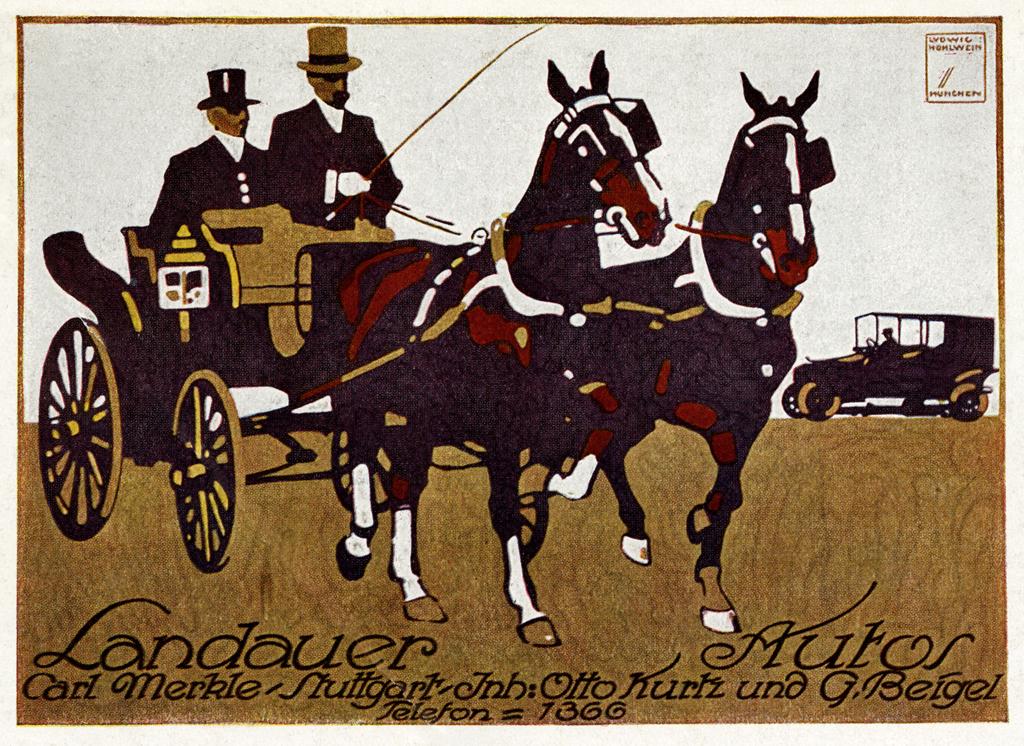 Landauer - Autos Carriages - Automobiles \/ advertising poster for - mega k chenmarkt stuttgart