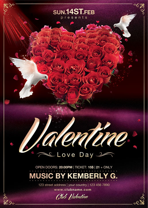 Valentines Day Flyer Template \u2013 Valentine\u0027s Day Info