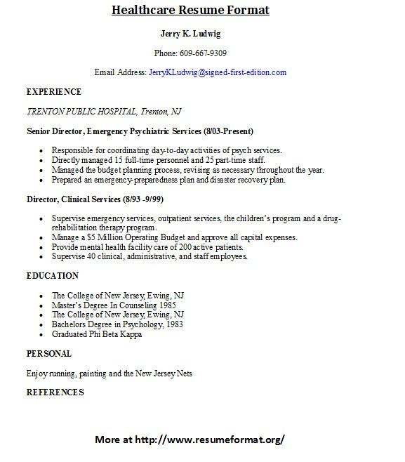 Healthcare Resume Format For more healthcare related resum\u2026 Flickr