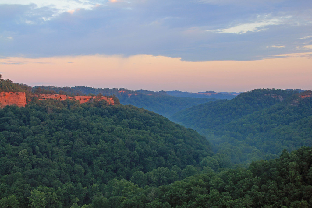 View From Chimney Top Rock At Red River Gorge Sunrise