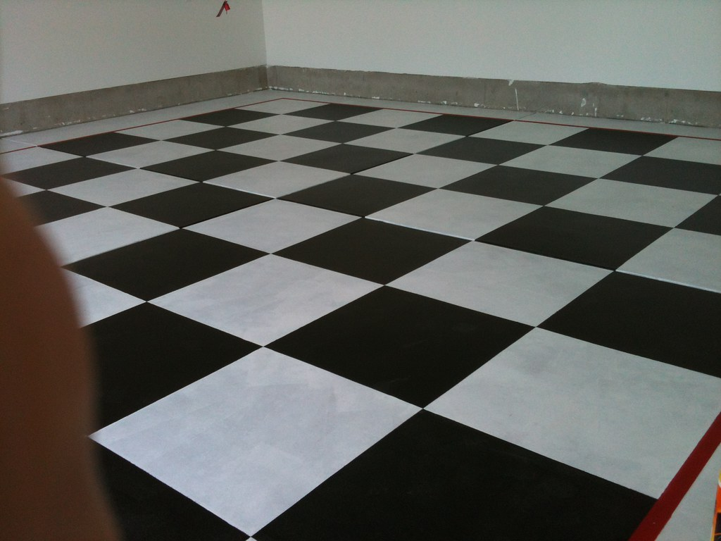 Garage Floor Painted Checkerboard Black And White