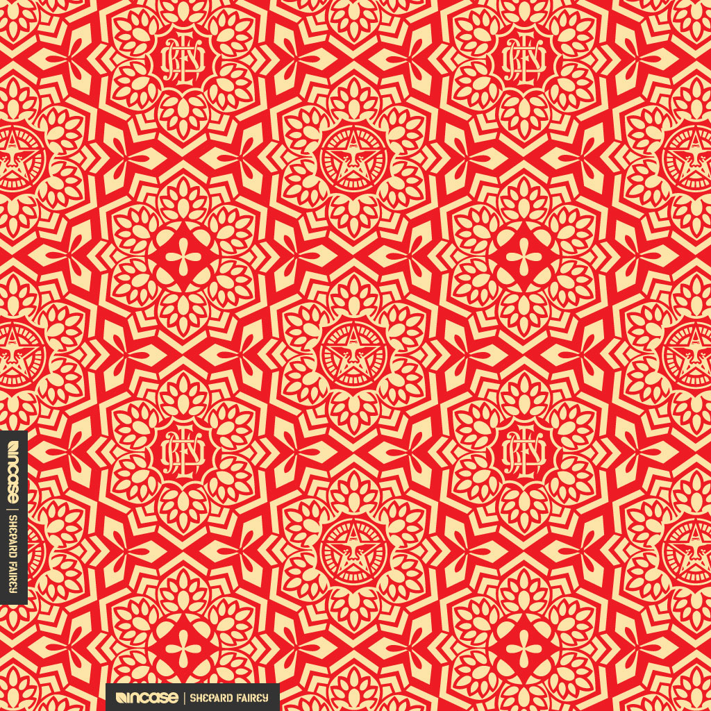 3d Street Art Wallpaper Shepard Fairey Yen Pattern Red For Ipad Incase Flickr