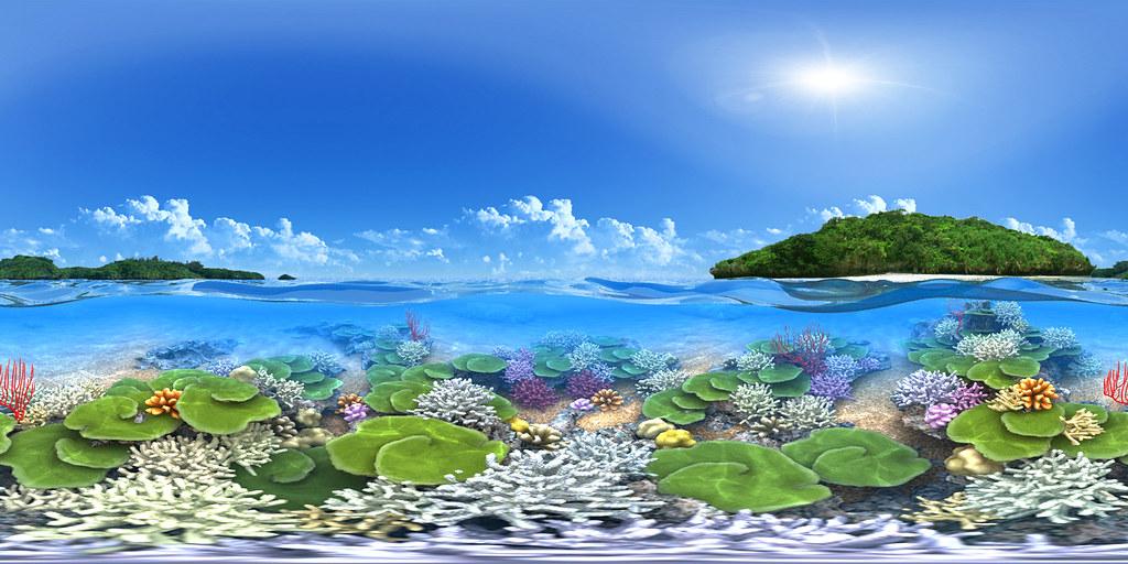 Hd Android Wallpapers 3d Coral Reef Cg Panorama Equirectangular Cg Panorama