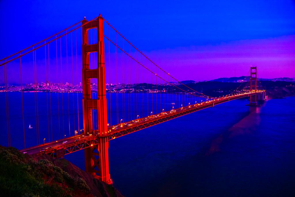 San Francisco Bridge Hd Wallpaper Golden Gate Bridge At Night San Francisco California