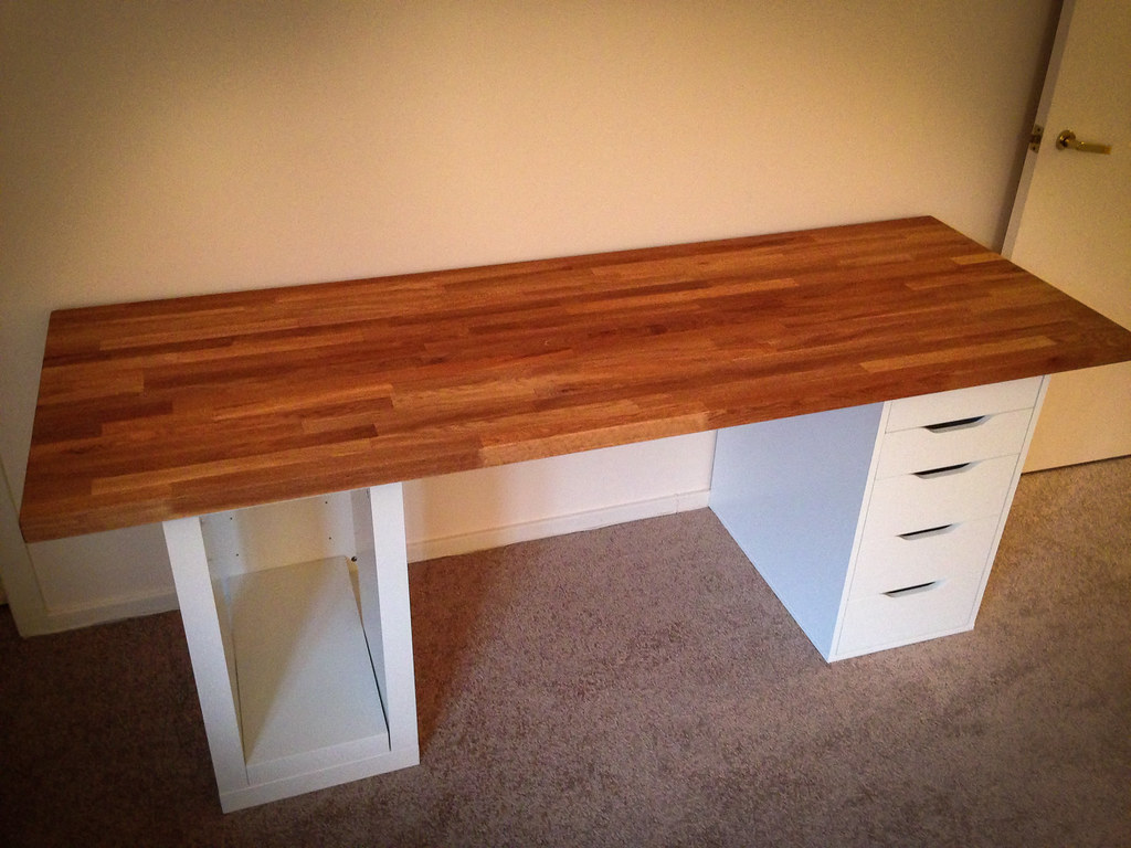 How To Install Ikea Countertops Ikea Numerär Counter Desk Desk Made From Oak Kitchen
