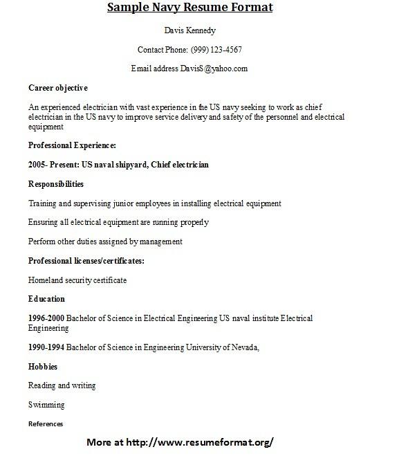 Sample Navy Resume Format For more samples of Navy resumes\u2026 Flickr - us navy address for resume