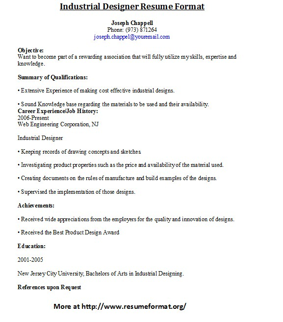 Custom Assignment - In A Town This Size industrial designer resume