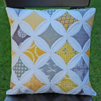 Yellow & Grey Cathedral Windows Pillow   I made this ...