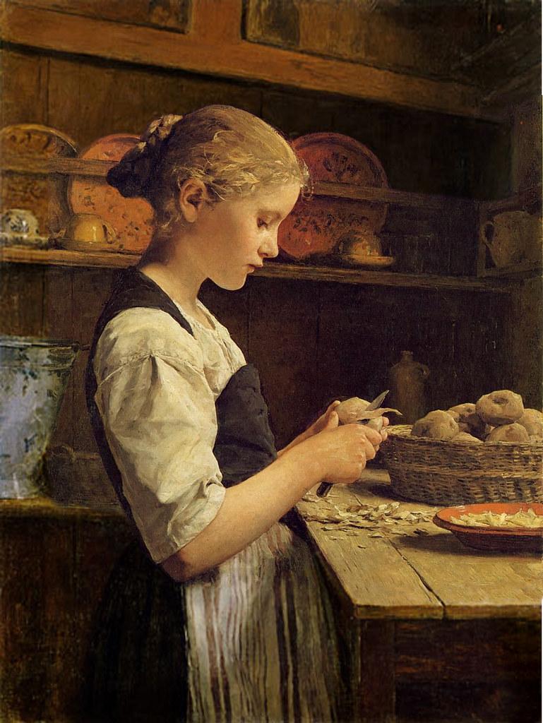 Cat Girl Wallpaper Albert Anker The Little Potato Peeler 1886 Albert