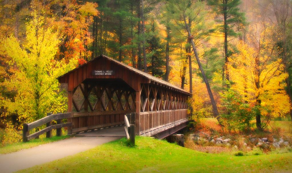 Free Desktop Wallpaper Fall Foliage The Thomas L Kelly Covered Bridge Allegany State Park