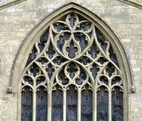 The seven-light Decorated Gothic south transept window, th ...