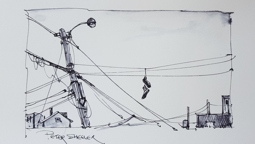 Utility Pole And Shoes A Fun Little Pen And Ink