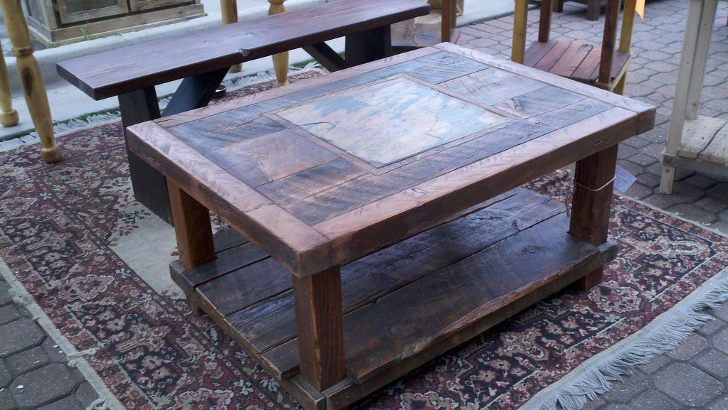 Reclaimed barn wood amp natural slate coffee table sold