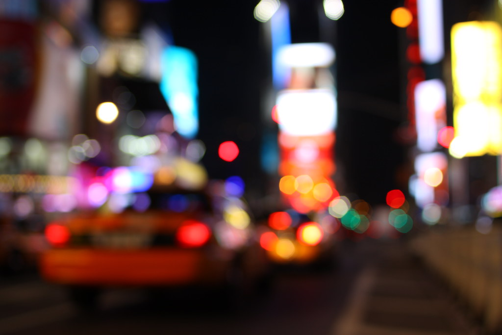 3d Wallpaper City Lights New York Facets Off Focus Bokeh Times Sq Guess One Can