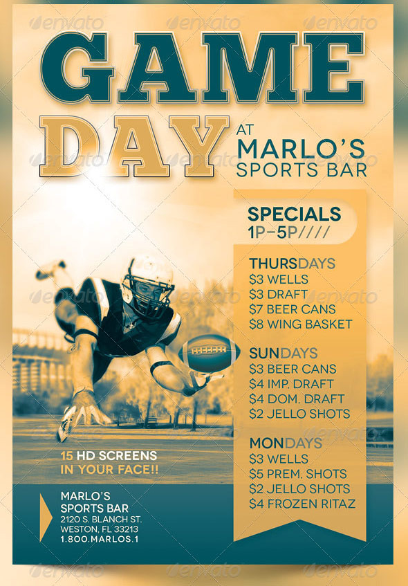 Game Day Sports Bar Flyer Template The Game Day Sports Bar\u2026 Flickr
