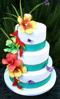 Tropical Flowers Wedding Cake | Wedding cake for a couple ...