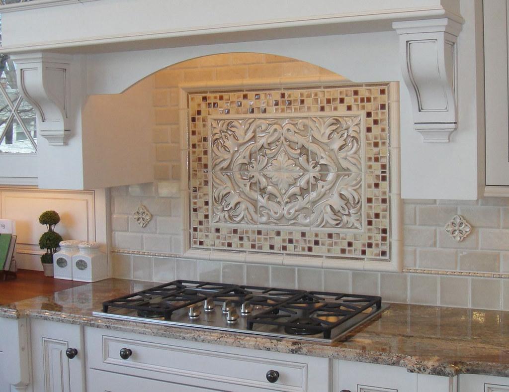 Kitchen Backsplash With Grace Plaque Grace Plaque