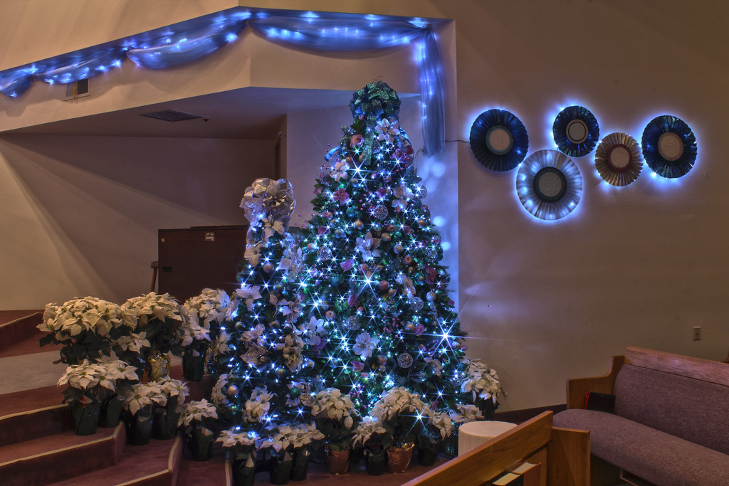 3d Wallpaper Decorating Ideas Silver Purple And Blue Themed Christmas Tree In Led Ligh