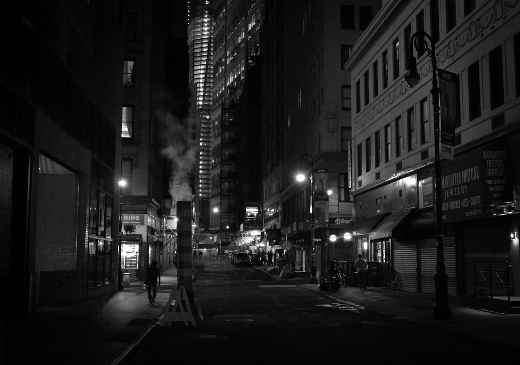 Lonely Girl Walking In Rain Wallpaper New York City Night Street In The Financial District