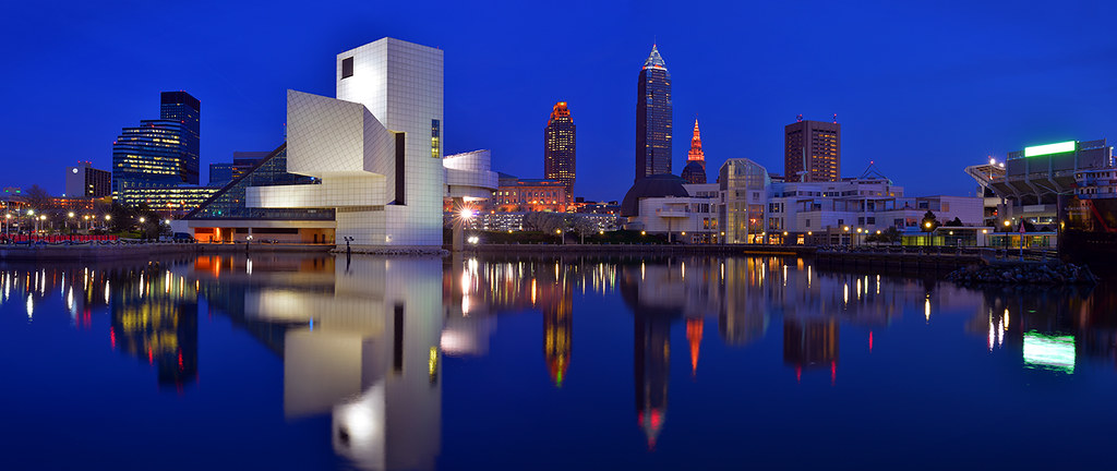 3d Wallpaper Near Me Cleveland Panorama Blue Hour Panorama Of The Cleveland