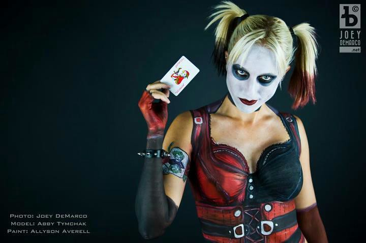 Uv Girl Paint Nsfw Wallpaper Harley Quinn Body Painting Arkham City Batman Preview