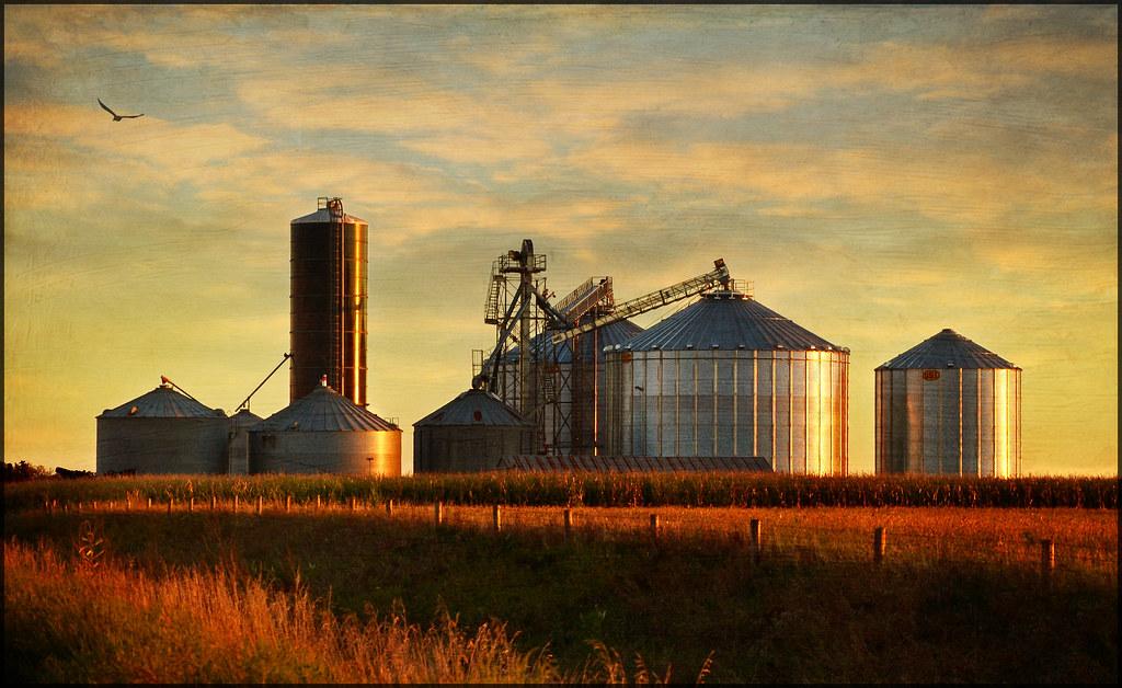 Free 3d Fall Wallpaper Grain Bins At Sunset Northwest Iowa Nice On Black